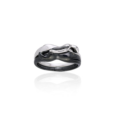 Interlocking Yin Yang Silver Ring TRI258