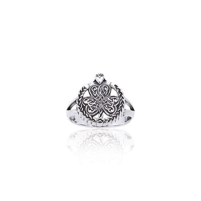 Shamrock Celtic Knot Claddagh Sterling Silver Ring TRI538 Ring