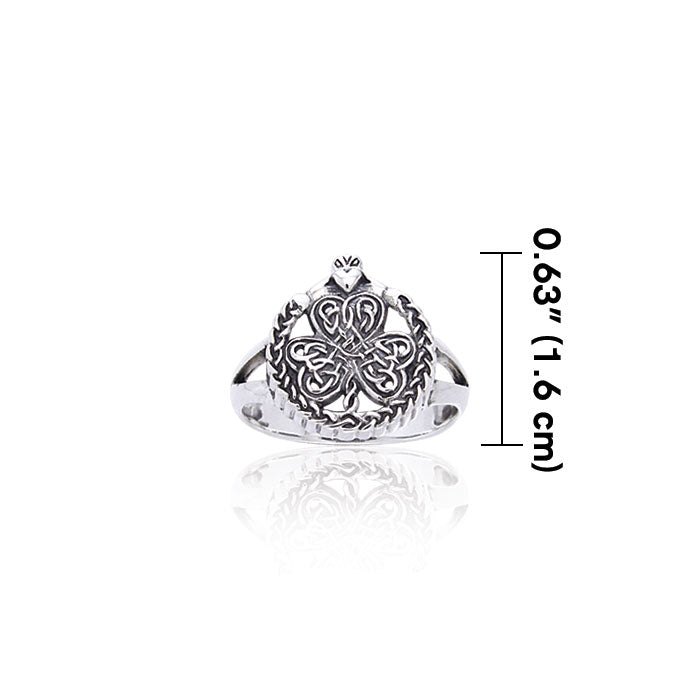 Shamrock Celtic Knot Claddagh Sterling Silver Ring TRI538