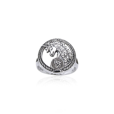 Open Celtic Unicorn Silver Ring TRI540