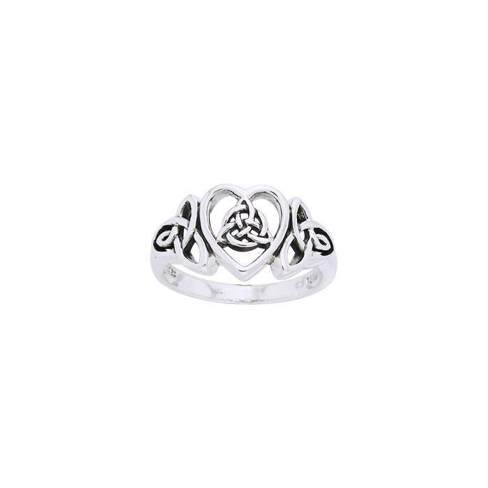 The purity of an endless heart ~ Celtic Knotwork Trinity Heart Sterling Silver Ring