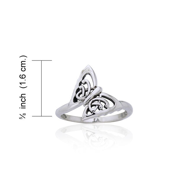 Celtic Butterfly Silver Ring TRI897
