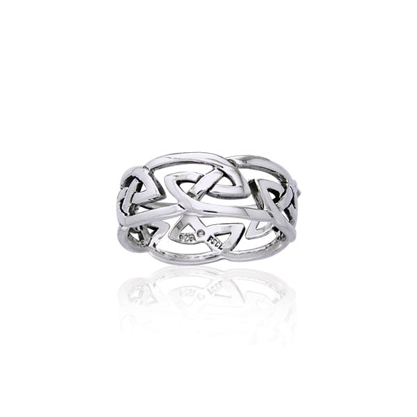 Modern Celtic Silver Ring TRI900