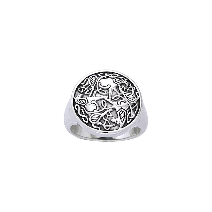 Celtic Knotwork Horse Ring TRI902