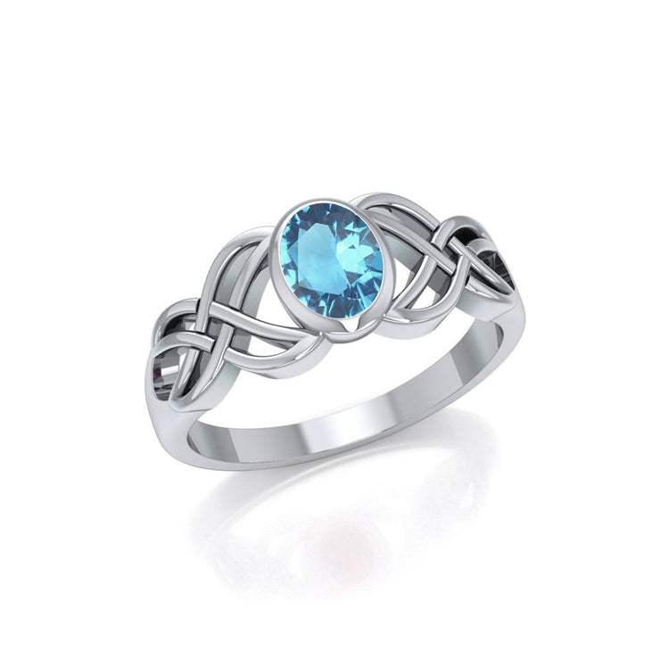 Bring out the best in you ~ Sterling Silver Celtic Knotwork Birthstone Ring TRI934