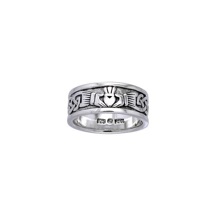 In a thousand years of love and eternity ~ Celtic Knotwork Claddagh Sterling Silver Ring TRI969 Ring