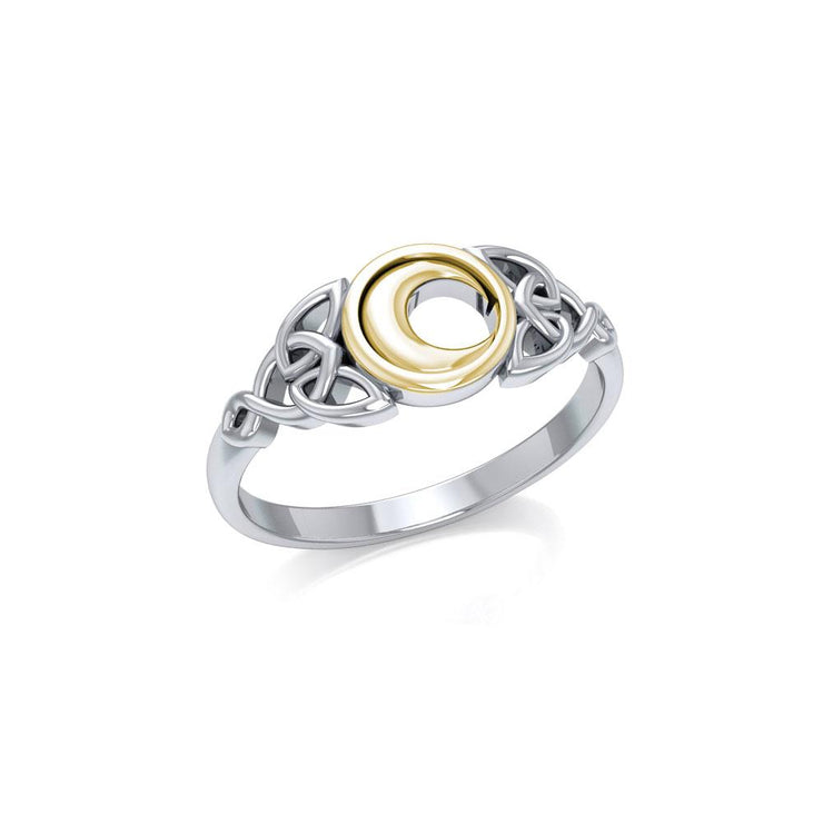 Celtic Moon Silver and Gold Ring TRV1746