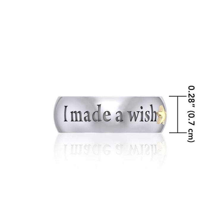 I made a wish and you came true Empower Word Silver and Gold Ring TRV3865
