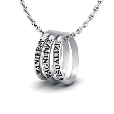 Empowering Words Manifest, Magnitize, Visualize Silver Ring Set TSE044