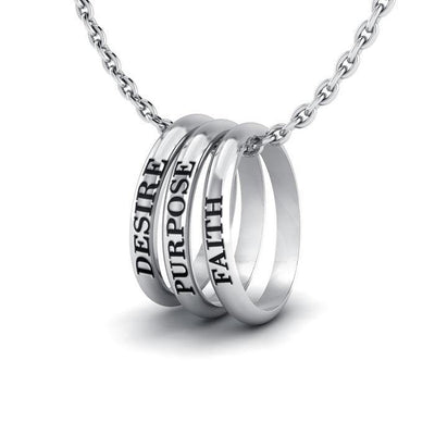 Empowering Words Desire, Purpose, Faith Silver Ring Set TSE055