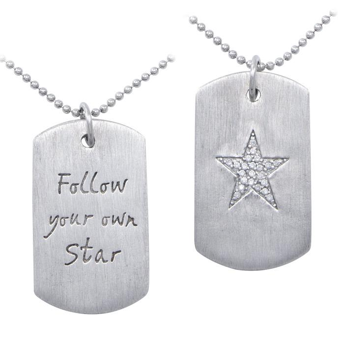 """Follow Your Star"" Dog Tag Necklace TSE446"