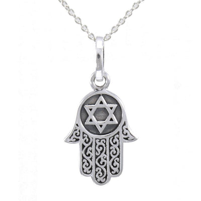 Silver Hamsa with Star of David Pendant and Chain Set TSE682 - Peter Stone Wholesale