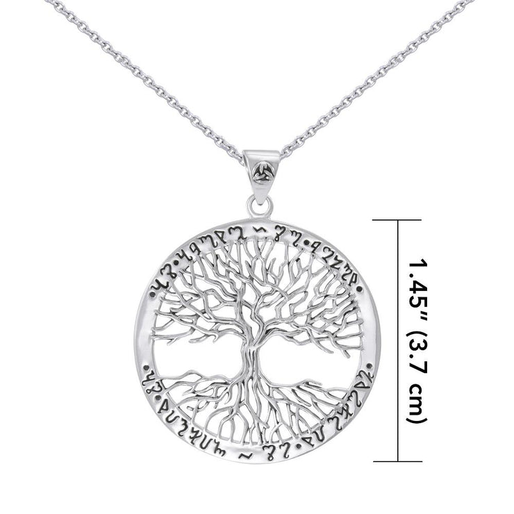 Silver Wiccan Tree of Life with Rune Pendant and Chain Set by Mickie Mueller TSE737 - Peter Stone Wholesale