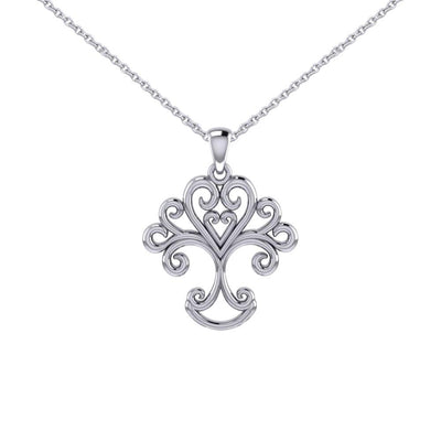 Silver Modern Tree of Life Pendant and Chain Set TSE739