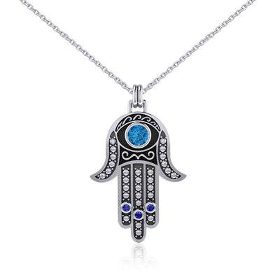 Silver Hamsa with Gemstone Pendant and Chain Set TSE742