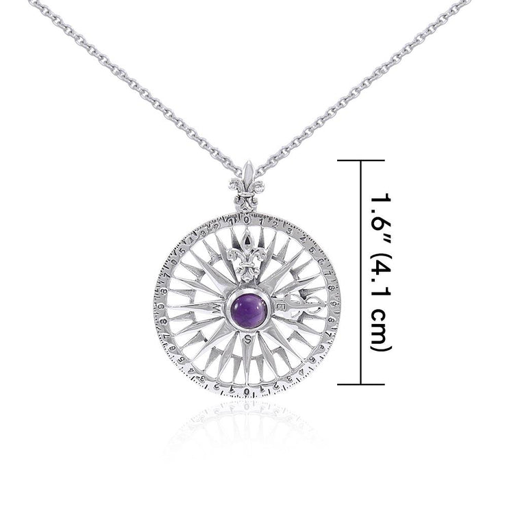 Silver Compass Rose Gemstone Pendant and Chain Set TSE764