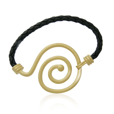 Sandblast Spiral Vermeil with Leather Bracelet By Amy Zerner VBL207 Bracelet
