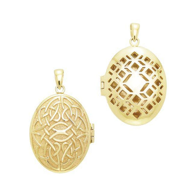 Celtic Knotwork Gold Vermeil Aroma Locket Pendant VPD1415