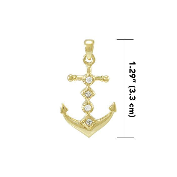 Anchor Gold Vermeil Pendant with Gemstone VPD4047