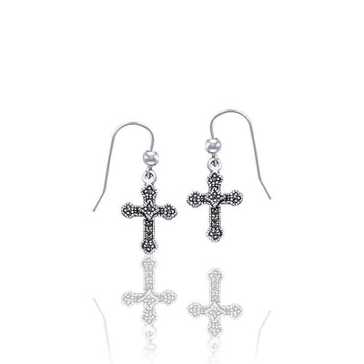 Silver Medieval Cross Earrings JE021