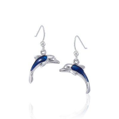 Silver and Paua Shell Dolphin Silver Earrings JE152