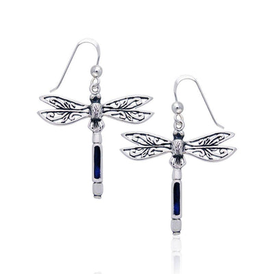 Dragonfly Silver Earrings with inlaid Stone JE183