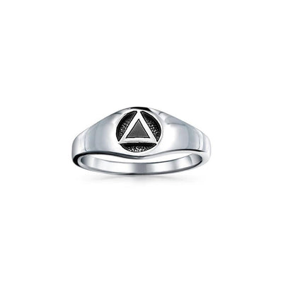 Triangle Symbol with Inlay ~ Sterling Silver Ring JR126
