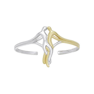 Venus and Mars Silver and Gold Accent Cuff Bangle MBA041