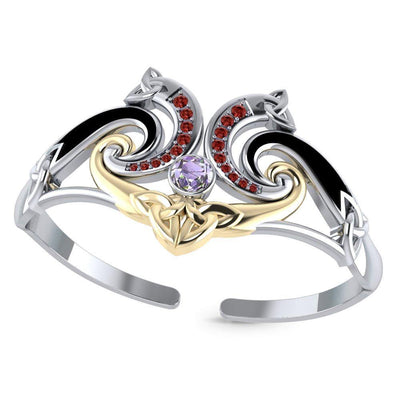 A showcase of Celtic elegance ~ Sterling Silver Celtic Triquetra Bangle with 14k Gold Accent and Gemstone MBA049