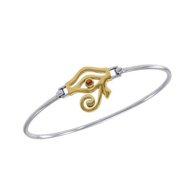 Eye of Horus Silver and Gold Spring Lock Bracelet MBA184