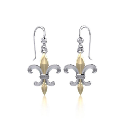 Brilliant symbolism in Fleur-de-Lis ~ Sterling Silver Jewelry Hook Earrings with 14k Gold accent MER117