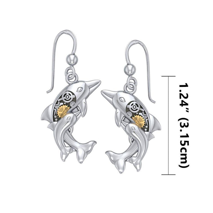 Concerted happiness with the twin dolphins ~ Sterling Silver Steampunk Hook Earrings with 14k Gold accent  MER1375