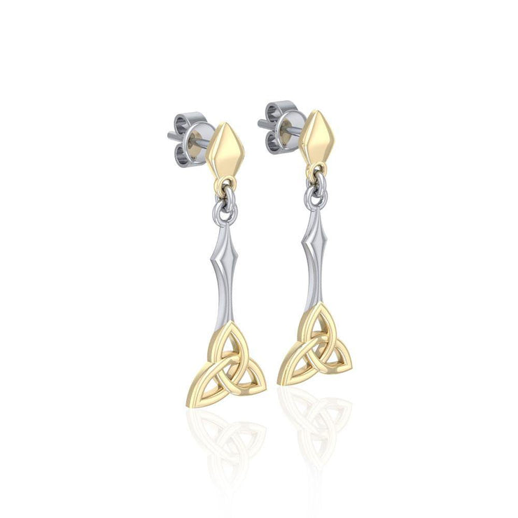 Celtic Trinity Knot Silver and Gold Post Earrings MER1679 Earrings