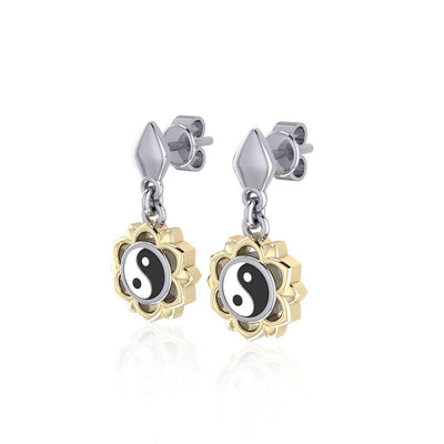 Yin Yang Chakra Silver and Gold Post Earring MER1691-YY