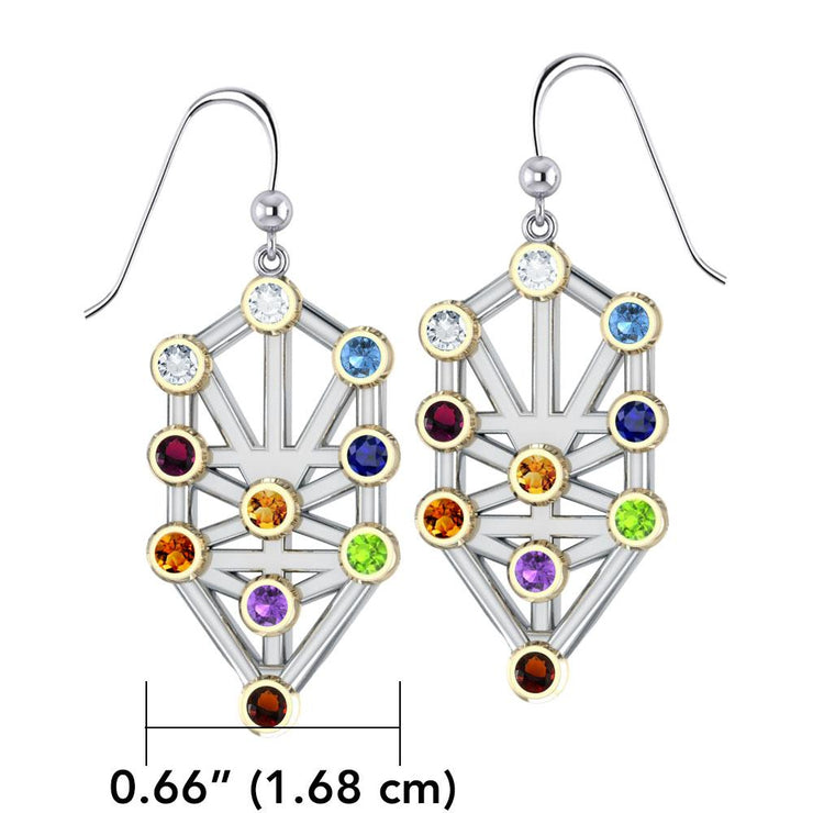 Kabbalah with Chakra Gemstone Silver and Gold Earrings MER1717