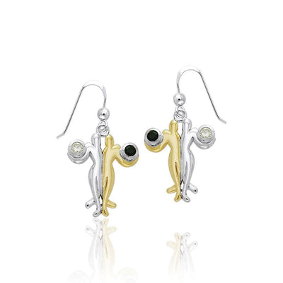 Venus and Mars with Gems Silver and Gold Earrings MER506