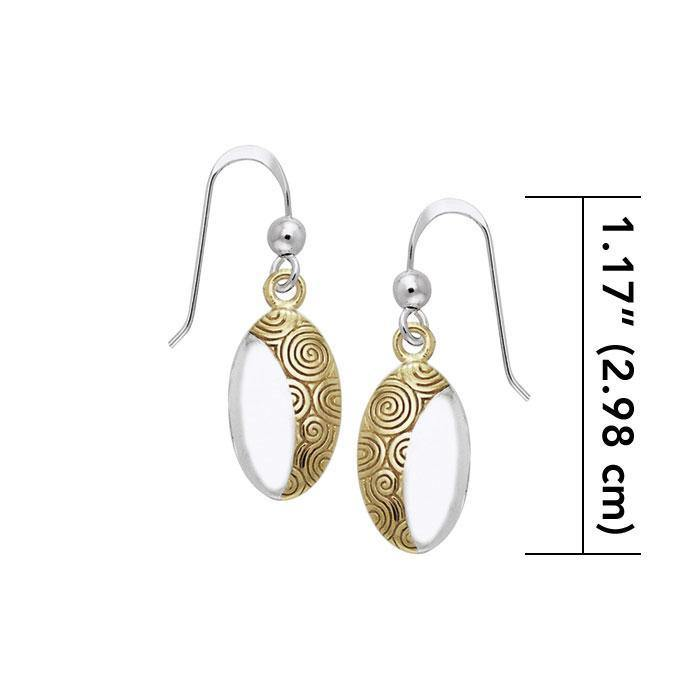 A lifetime symbolism of the Goddess Danu ~ Sterling Silver Celtic Knotwork Hook Earrings Jewelry with 14k Gold Accent MER548