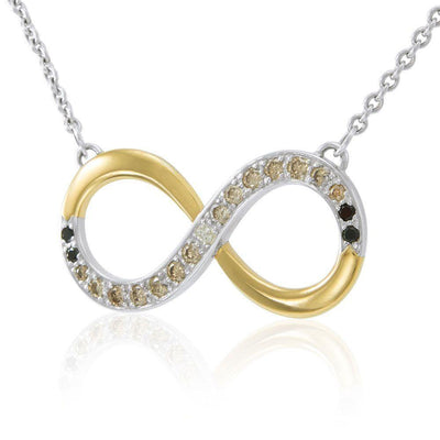 Endless worth ~ Sterling Silver Infinity Symbol Necklace Jewelry with Gold Accent and Diamond MNC171