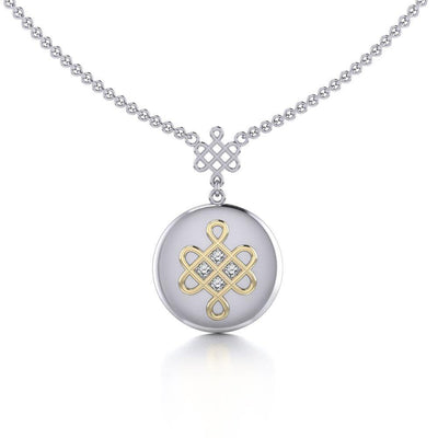 Chinese Mystic Knot Silver and Gold Necklace MNC357