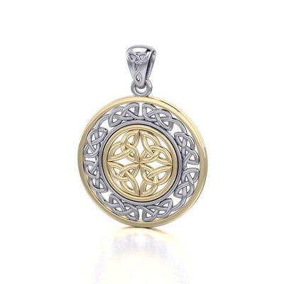 When gold shines through eternity ~ Celtic Knotwork Sterling Silver Pendant Jewelry with Gold accent Pendant