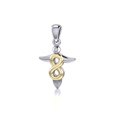 Limitless guidance ~ Sterling Silver Infinity Angel Pendant Jewelry with 14k Gold Accent MPD3868