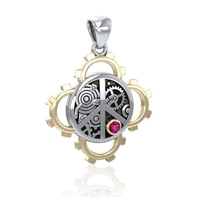 Peace Steampunk Sterling Silver and Gold Pendant MPD3927