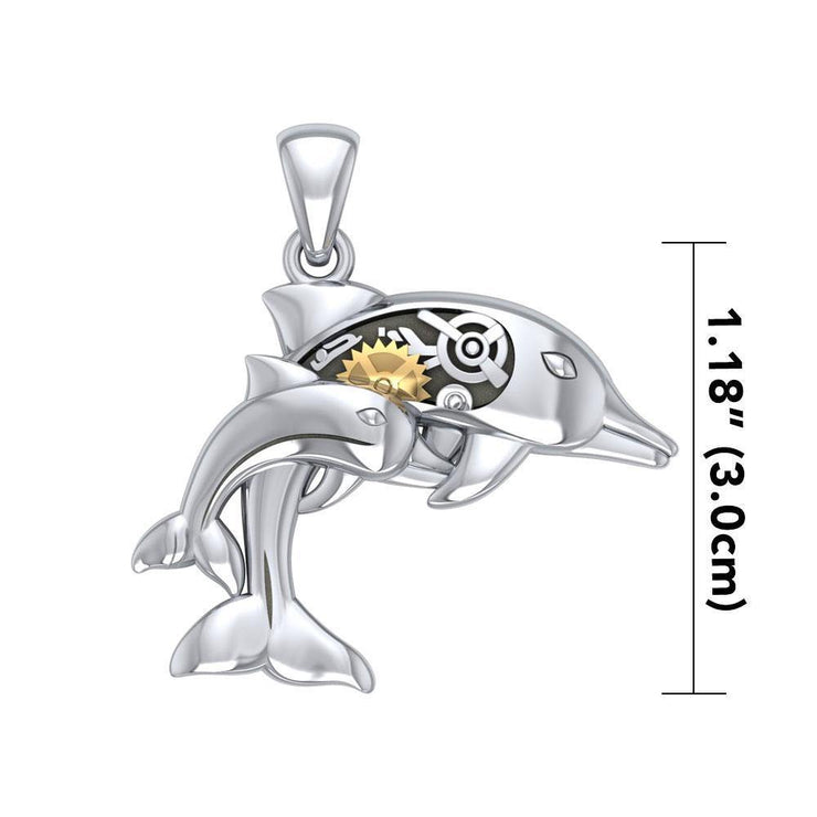 Gentle dolphins in steampunk ~ Sterling Silver Jewelry Pendant with 14k Gold Accent
