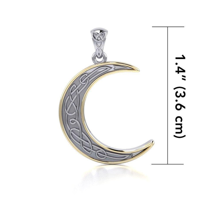 A night of the lunar promise ~ Celtic Knotwork Crescent Moon Sterling Silver Pendant Jewelry with Gold accent MPD4201 Pendant
