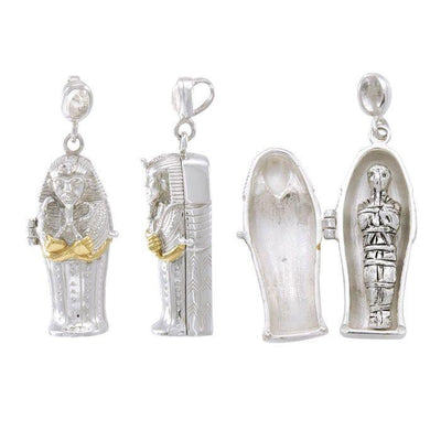 Egyptian Mummy Sarcophagus Protection Silver and Gold Pendant MPD4749 Pendant