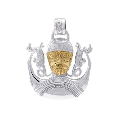 Celtic God Cernunnos of life and prosperity ~ Sterling Silver Jewelry Pendant with 18k gold accent MPD4758
