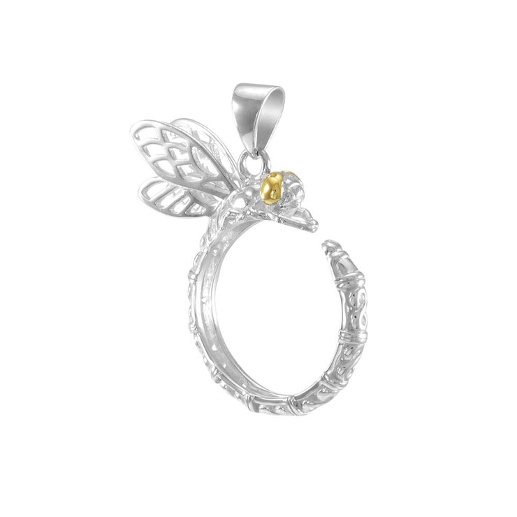 Sterling Silver and Gold Dragonfly Pendant MPD4854