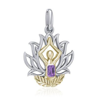 Yoga Lotus Position Silver and Gold Pendant with Gemstone MPD5024