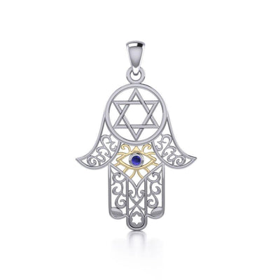 Hamsa Silver and Gold Pendant with Gemstone MPD5079-Sapphire Pendant