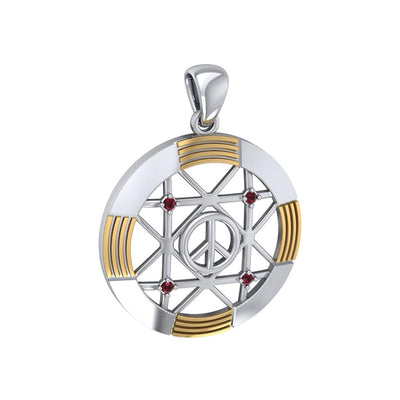 Peace Centralization Sterling Silver Pendant Jewelry with 14K Gold Vermeil and Gemstones MPD5143
